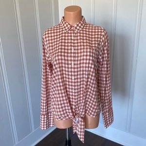 J Crew Copper Gingham Tie Front Button Down Top 10